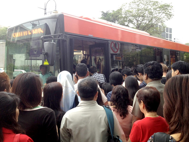 Large crowds forming for the free bus bridging services, March 15, 2012