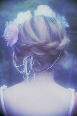 naiads of the falls (THE PULP GIRLS) Tags: flowers floral girl hair neck back soft skin blond crown dreamy beatiful braid