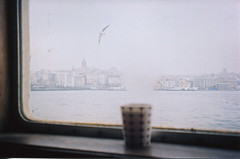 Steam can erase you (EYLUL ASLAN) Tags: winter sea cold film weather ferry istanbul steam cupoftea 2012 goldenhorn galatatower thebosphorus