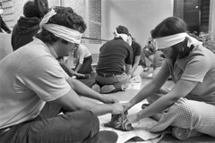 Blindfolded clay play at behavioral science experiment, Tufts University, Medford (Boston Public Library) Tags: medicine hospitals medicalstudents spencergrant