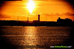 Sun over the River Mersey, Liverpool (Anthony Mooney) Tags: uk sunset liverpool river mersey