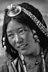 Tibet (luca marella) Tags: china travel portrait bw woman white black film beauty face blackwhite turquoise jewelry pb bn e ethnic bianco nero cultural marellaluca anagogic
