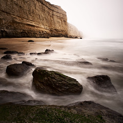 Between Pomponio and Pescadero Beach in Northern California (Alex Sotelo) Tags: ocean california longexposure sea cliff seascape green nature water beauty fog landscape photography sand nikon rocks colorful waves foggy northern pescadero bluff pomponio ndfilter 6stop alexsotelo