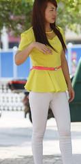 yellow blouse and white trousers (4) (Steven pan 8) Tags: girls sexy girl beautiful beauty asian pretty legs skirt hotgirls pantyhose asiangirl hotgirl chinesegirl asianbeauty