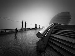 Obscured by Clouds (vulture labs) Tags: morning blackandwhite bw mist building london art sahara monochrome lines fog skyline architecture stairs composition towerbridge photography smog cityscape cityhall fineart curves monotone monochromatic more workshop pollution dust cityoflondon assembly morelondon londonskyline londonfog bwlondon vulturelabs