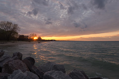 May Sunset (Jonathan Lurie) Tags: park sky lake beach water clouds evening waves dusk michigan lakemichigan wilmette gillson gillsonpark gillsonbeach