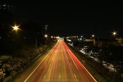 Singapore CTE one way (deepaksebastian007) Tags: road lighting street light tree car night dark way break