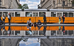 Orange (G.hostbuster (Gigi)) Tags: street people reflections budapest tram ghostbuster gigi49