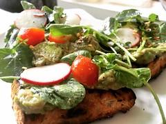 Avocado Toast (alisonsteinberg) Tags: food bread avocado lemon yum toast tomatoes fresh delicious onion radish watercress