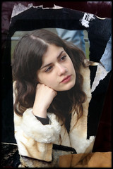girl in a fur (PIKTORIO) Tags: street berlin girl beauty germany poster candid ripped listening photomontage torn piktorio