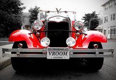 Vroom Vroom (Creepella Gruesome) Tags: blackandwhite classic car vintage vehicle selectivecolor