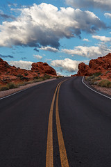 Sky Drive (James Marvin Phelps) Tags: road sky valleyoffire clouds photography sandstone desert nevada redrocks mojavedesert valleyoffirestatepark landscapephotography jamesmarvinphelpsphotography jamesmarvinphelps