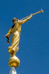 Lightning Damaged Moroni (O.S. Fisher) Tags: canon religious temple photography utah photo image icon photograph 5d mormon lightning damaged lds imagery moroni latterdaysaints bountiful struck markiii shaunfisher canon5dmarkiii osfisher olivershaunfisher