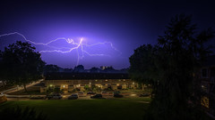 Lightning above Deventer (Lefers.) Tags: nightphotography fuji fotografie nacht balcony balkon nederland lighttrails lightning avond fujinon deventer overijssel 1024 onweer bliksem xt1 23062016