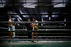 The very nervous of first game, two young boys posing just before fighting. Chiangmai Muaythai Championship Competition. (SUNA_PHOTOGRAPHY) Tags: travel people sports sport thailand fight photojournalism chiangmai muaythai