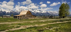 Down on the Farm (Irwin Scott) Tags: old mountain barn landscape spring cloudy western wyoming prairie tetons range moulton mormonrow antelopeflats nearjacksonhole neargrandtetonnationalpark