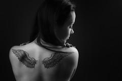 Her wings (Barry_Madden) Tags: woman tattoo female portraits studio bareback back model photoshoot longhair inside finnish youngwoman lappeenranta darkhair homestudio finnishgirl miiap portraits2016