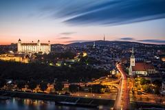 Twilight at Bratislava Castle (Ralph Cherubin) Tags: longexposure light castle church clouds river twilight europe may trails olympus panasonic slovakia bratislava danube 2016 ep5 20mmf17