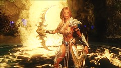 TESV - Silverlight wargaive supremacy (tend2it) Tags: kenb elder scrolls skyrim v rpg game pc ps3 xbox screenshot sweetfx enb krista demonica race sg lilith 161 felicia silverlight armor wargaive weapons duel wield waterfall evil lair hydra
