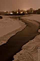 Winding River (theobjectivesea photography) Tags: longexposure bridge trees winter canada cold calgary ice water nikon alberta bowriver freshwater naturalframe windingriver d7000 nikkorafsdx18105mmf3556edvr calgarypassionforphotography