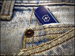 Blue on Blue... (Mike Goldberg) Tags: scale miniature jerusalem denim hmm thecolorblue pocketknife mikegoldberg macromondays panasonicg1