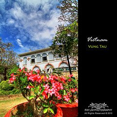 The White Palace, Bach Dinh, Vung Tau (Fay Lim (Fly)) Tags: blue red vacation sky white house holiday flower color building tree architecture french landscape scenery asia place south style vietnam bach hdr vungtau ninh