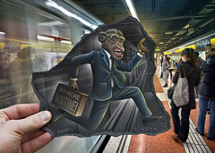 Pencil Vs Camera - 64 (Ben Heine) Tags: hello barcelona light wild hairy art colors smart station animal danger speed work painting subway photography rebel freedom monkey vanishingpoint scary jump spain funny escape hand chimp drawing transport humor perspective competition run humour banana dessin peinture course intelligence fantasy libert caution scream rebellion grimace imagination kingkong tintin rushhour chic capitalism sherlockholmes suitcase mighty struggle ratrace barcelone classe cri jamesbond singe routine folie fuite costard poilu chimpanz blackpaper betaversion metroboulotdodo benheine traintrainquotidien pencilvscamera nomoreroutine eatsleepwork