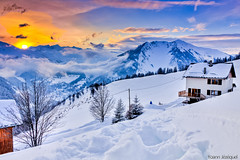 Chalet in the French Alps looking the sunset... (Zeeyolq's Pictures...Busy,baby takes a lot of time) Tags: voyage snowflake trip travel blue sunset sky house snow ski mountains alps ice yellow montagne alpes canon wonderful magazine landscape photography snowflakes soleil photo image awesome picture peak canond60 flake ciel valley chalet neige thealps sublime flakes paysage geo skier magnifique alpe sapin coucherdesoleil skieur glace piste flocons frenchalps maurienne randonne flocon valle geographie yoann sapins albiez flocondeneige alpesfranaises canon60d valledelamaurienne jezequel skialps pistedeski flickraward skieuse albiezmontrond franceinwinter alpsmoutain europeinwinter flickrawardgallery yoannjezequel winterholidaysfrance alpsmoutains