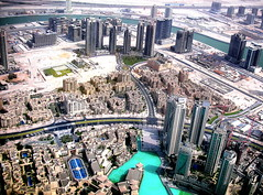 Downtown Dubai skyline (Dohoon Kim) Tags: city lake skyline floors buildings al sand dubai industrial place desert rich artificial peoples 124 khalifa arab hotels roads residential burj