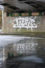 Have a cold one.. (Herzoleum) Tags: reflection wall writing silver underpass graffiti paint letters swastika mta nes brug piece herz bombing 2012 mvp waterreflection otb tds graffitiwall tpa hakenkruis herzo davidstar icepiece silverpiece xts oldschoolstyle davidster thedeathsquad herz1 nescrew mtacrew umxs madtransitartists oldschoolstijl zilverpiece herzone crosstownstatic ijspiece