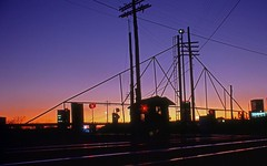 27th Street Railroad Gate Silhouette (esywlkr) Tags: railroad sunset birmingham alabama rr southern passenger railfan 1976 e8 silhouett bham screscent emde8
