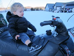 Everett's New Toy (Joe Shlabotnik) Tags: violet sue killington snowmobile everett 2012 february2012 justeverett