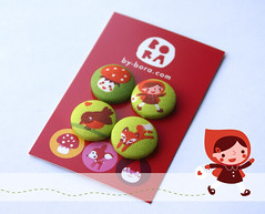 Little Red Riding Hood buttons (by BORA) Tags: design buttons sewing fabric button bora knopen spoonflower