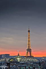 The Eiffel tower (NiCo' ( vip2pak )) Tags: roof sunset sky orange paris france tower art night clouds photoshop iso100 nikon long exposure expo time bokeh terrace grand eiffel best bleu ciel lumiere palais nuage nuages nico toit hdr artland lightroom haussman trepied concordian trippod d7000