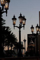 Streetlamps and the Stratosphere (dewane) Tags: lasvegas streetlamp strip venetian stratosphere