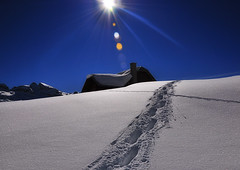 Up! (ceca67) Tags: winter sun house snow alps nature switzerland swiss tracks footprints 2012 februar tannenalp