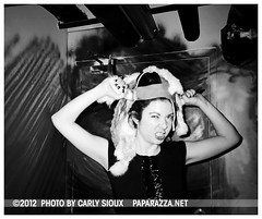 Carly Sioux, Viking Buffalo @ WIP (carly_sioux) Tags: bw film brooklyn streetphotography wip nightlife pointshoot picturesofyou paparazza artparties carlysioux