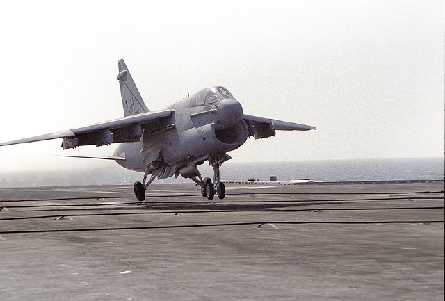 Vought A-7 Corsair aboard the USS ENTERPRISE during a touch and go - 1984