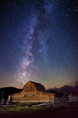 "Milky Way Stars over Teton Barn (IronRodArt - Royce Bair (""Star Shooter"")) Tags: park light sky mountain lightpainting nature night barn dark painting way stars evening twilight shiny long exposure heaven glow shine nightscape time dusk infinity space deep peak grand twinkle astro sparkle galaxy national astrophotography astronomy grandtetons teton universe exploration range milky cosmic starry cosmos astrology constellation distant milkyway moulton starlight grandtetonnationalpark moultonbarn starrynightsky"