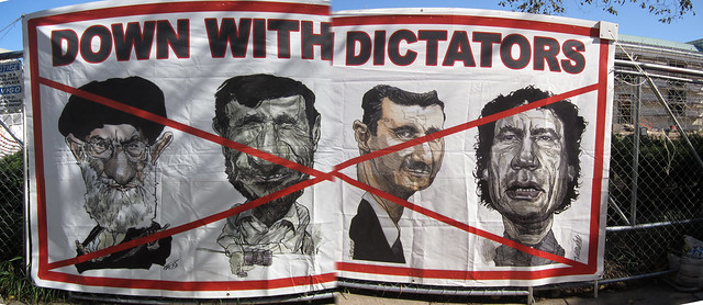 Anti-dictators sign (stitched)
