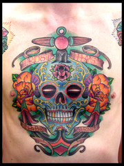 Completed (Peter_White) Tags: color rose tattoo ink skull leaf chest trace sugar mexican anchor folha caveira tinta ancora tatuagem peito videira trao videiratattoo