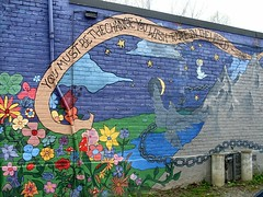You Must Be the Change (Georgie_grrl) Tags: flowers sky moon toronto ontario mountains broken birds clouds garden stars freedom mural quote smiles happiness chain gandhi positive wordsofwisdom bethechange itsthelittlethings mydarkpinkside samsungd760 new365project