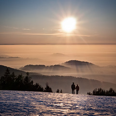 Towards the Light (andywon) Tags: winter sunset sky sun mist love ice nature fog germany landscape couple hills together inversion schwarzwald blackforest badenwrttemberg kandel danielwonisch