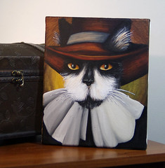 Male Puritan Cat (taraflyphotos) Tags: blackandwhite brown cat grey costume colonial gray canvas tuxedocat puritan acrylics pilgrim settler orangeeyes catportrait catart catpainting catartist catinclothes tarafly