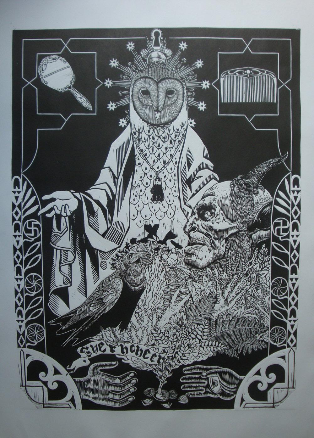 Iker Bengoetxea - Cuerno Necro 2-Linograbado