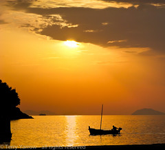 Under the evening sun (Terry Yarrow) Tags: light sunset sea sky water silhouette clouds canon reflections evening coast boat fishing croatia stillness dubrovnik cavtat contrejour possibles g9