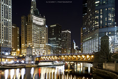 Chi-town by Night (CJ Schmit) Tags: longexposure bridge urban usa chicago water night canon river illinois downtown unitedstates trumptower chicagoriver canonef1740mmf40lusm 5dmarkii cityfrontcenter canon5dmarkii cjschmit wwwcjschmitcom cjschmitphotography