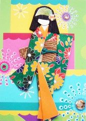 ATC929 - Coloroful fireworks around me (tengds) Tags: pink flowers blue green atc fireworks geisha kimono obi papercraft recycledpaper japanesepaper washi ningyo handmadecard chiyogami explored yuzenwashi japanesepaperdoll nailsticker origamidoll tengds origamiwashi