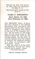 Joseph Bodensteiner Remembrance Card