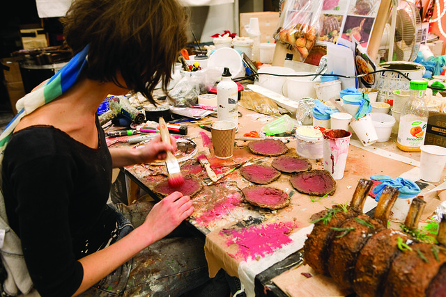 Creating the banquet for Falstaff in the Royal Opera House props department © Rob Moore/ROH 2011